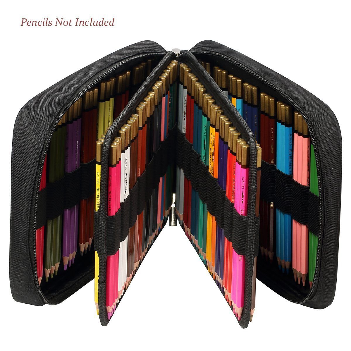 Nrpfell 150 Slots Colored Pencils Universal Pencil Bag Pen Case School Stationery PencilCase Drawing Painting Storage Pouch Pencil Box (Black) by Nrpfell (Image #3)