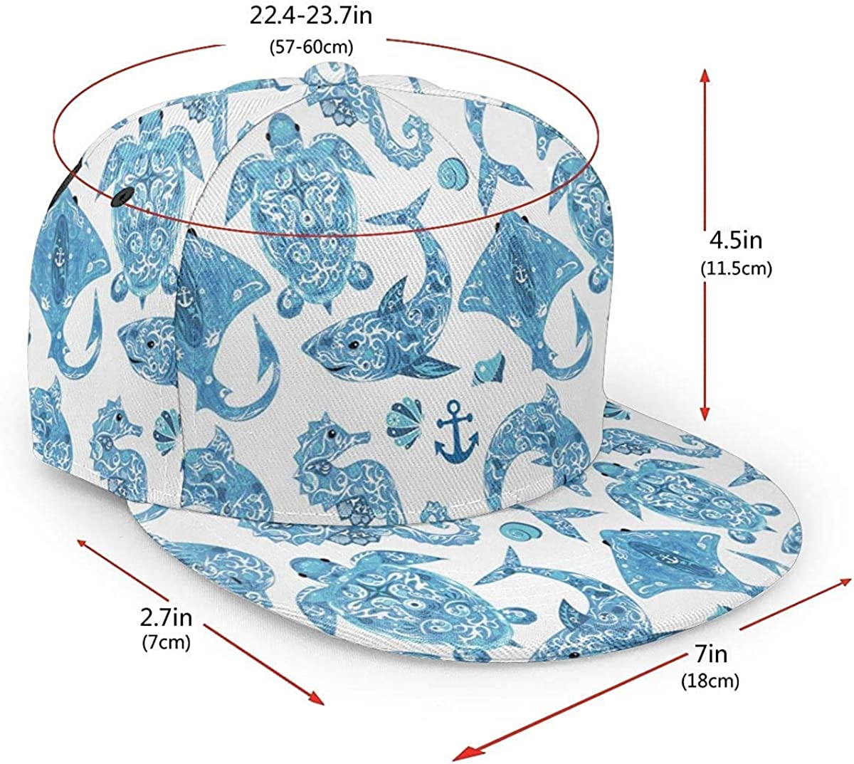 Pattern with Turtle Dolphin Seahorse Mollusk Shark Lightweight Unisex Baseball Caps Adjustable Breathable Sun Hat for Sport Outdoor Black