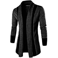 DENIMHOLIC Silver Solid Lapel Collar Slim Fit Full Sleeve Men's Cardigan