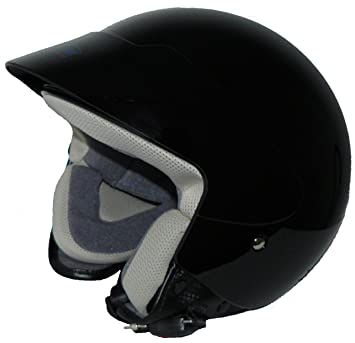 Max Racing protectWEAR Casco Jet Moto sin Visera, Negro Brillante, M