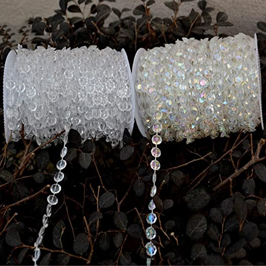 Christmas Tablescape Decor - Clear and Iridescent Crystal Like Beads by the Roll