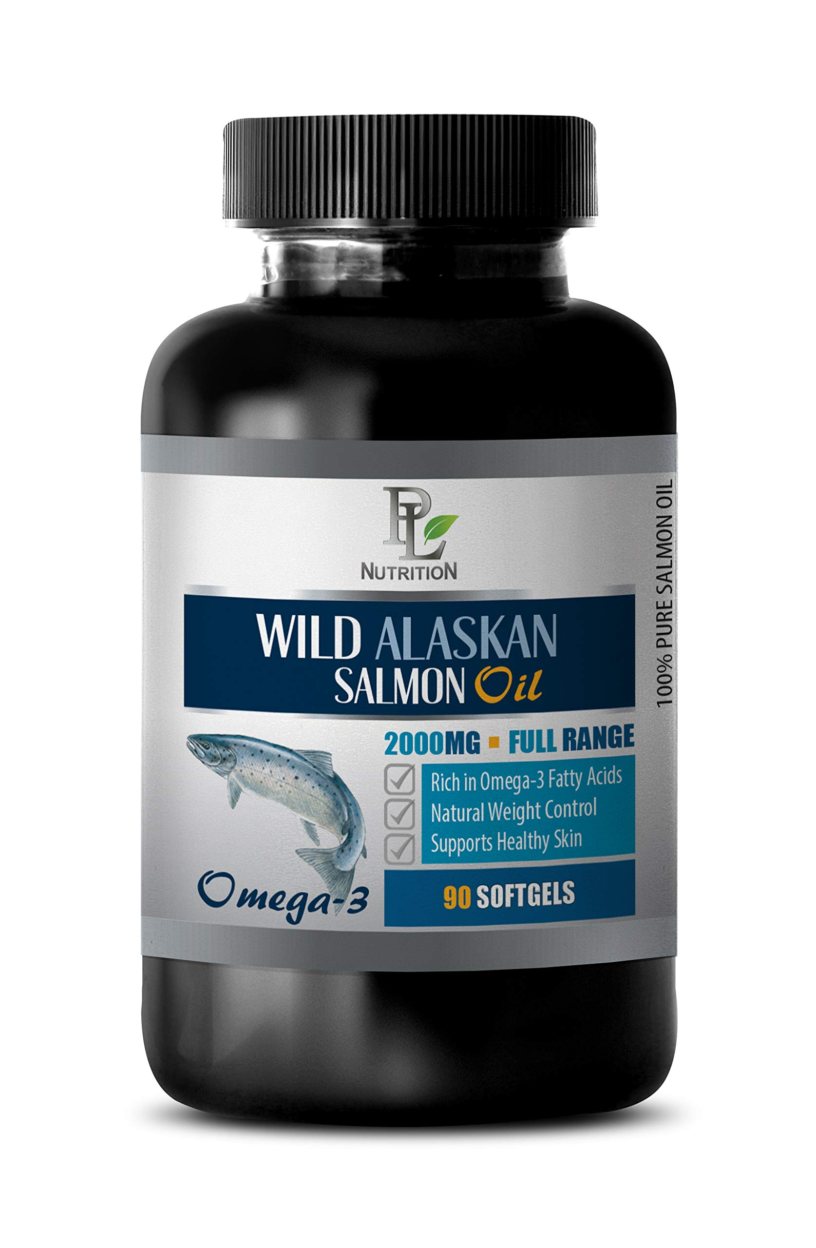 Brain Function Energy Supplement - Wild Alaskan Salmon Oil - Omega 3 2000MG - Full Range - Wild Alaskan Fish Oil - 1 Bottle 90 Softgels by PL NUTRITION