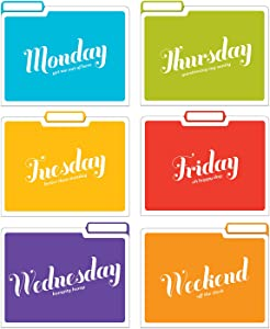 Knock Knock Days of the Week File Folders Set, Daily / Weekly Organizer Files (Set of 6, 11.5 x 9-inches)