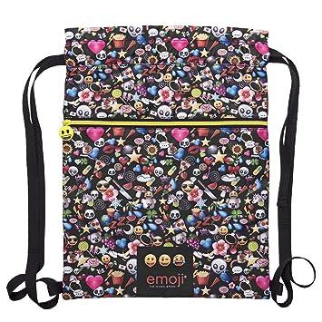 PERLETTI Saco Deporte para Niñas Emoji – Bolsas de Zampatos Impermeable con Estampado Emoticon Whatsapp–
