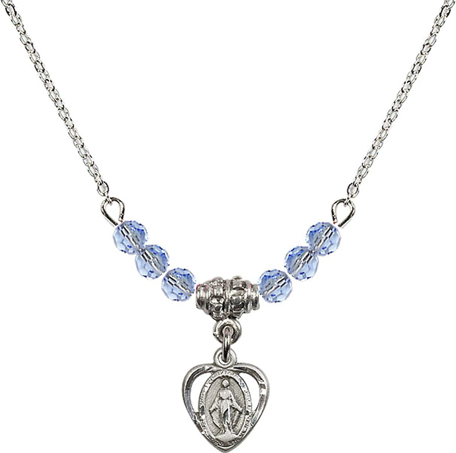 Bonyak Jewelry 18 Inch Rhodium Plated Necklace w// 4mm Light Blue September Birth Month Stone Beads and Miraculous Charm