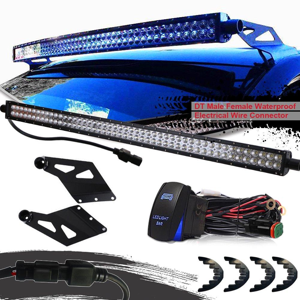 TURBOSII DOT LED 50 Inch LED Light Bar Spot Flood Combo 288W Offroad Driving Light + Upper Roof Windshield Mount Brackets for 2002-2008 Dodge Ram 1500/2003-2009 Dodge Ram 2500/3500