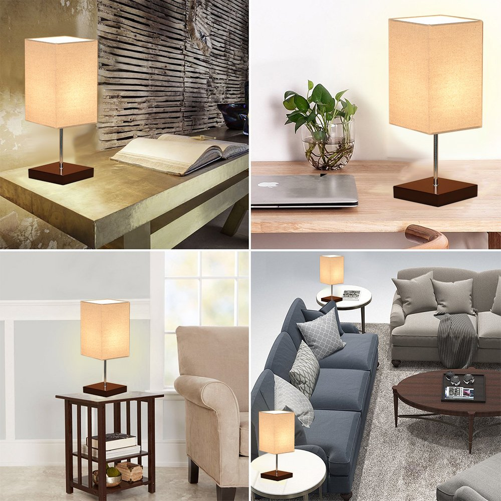 Tomshine Bedside Table Lamp Small Nightstand Lamps for Bedrooms Minimalist Solid Wood Desk Light with Square Fabric Shade for Living Room Coffee Dresser Table by Tomshine (Image #1)