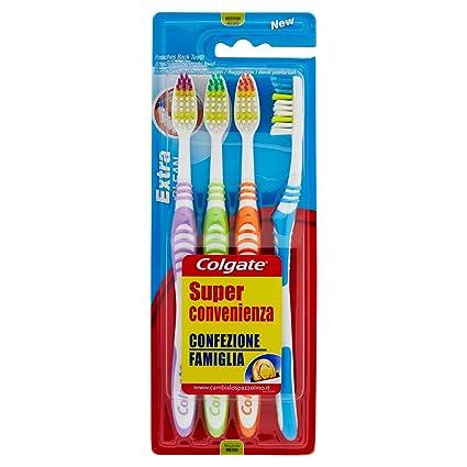 Colgate Extra Clean - Cepillo de dientes medio, 2 paquetes con 4 unidades