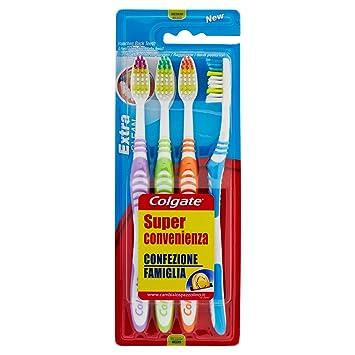 Colgate Extra Clean - Cepillo de dientes medio, 2 paquetes con 4 unidades: Amazon.es: Salud y cuidado personal