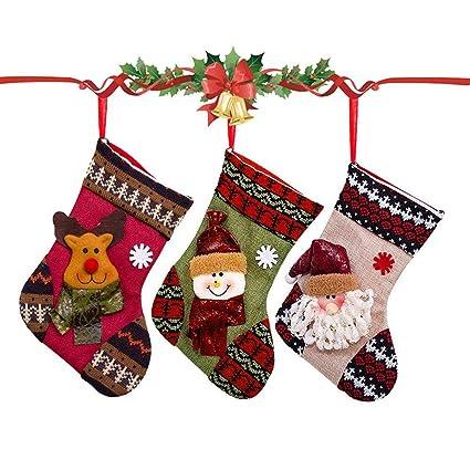 Navidad medias de Navidad decoración 3d [Papá Noel + muñeco de nieve + reno]