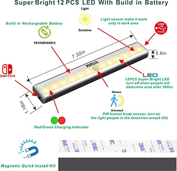SamSung LED Chip, Under Cabinet Lights 12-LED Motion Sensor ...