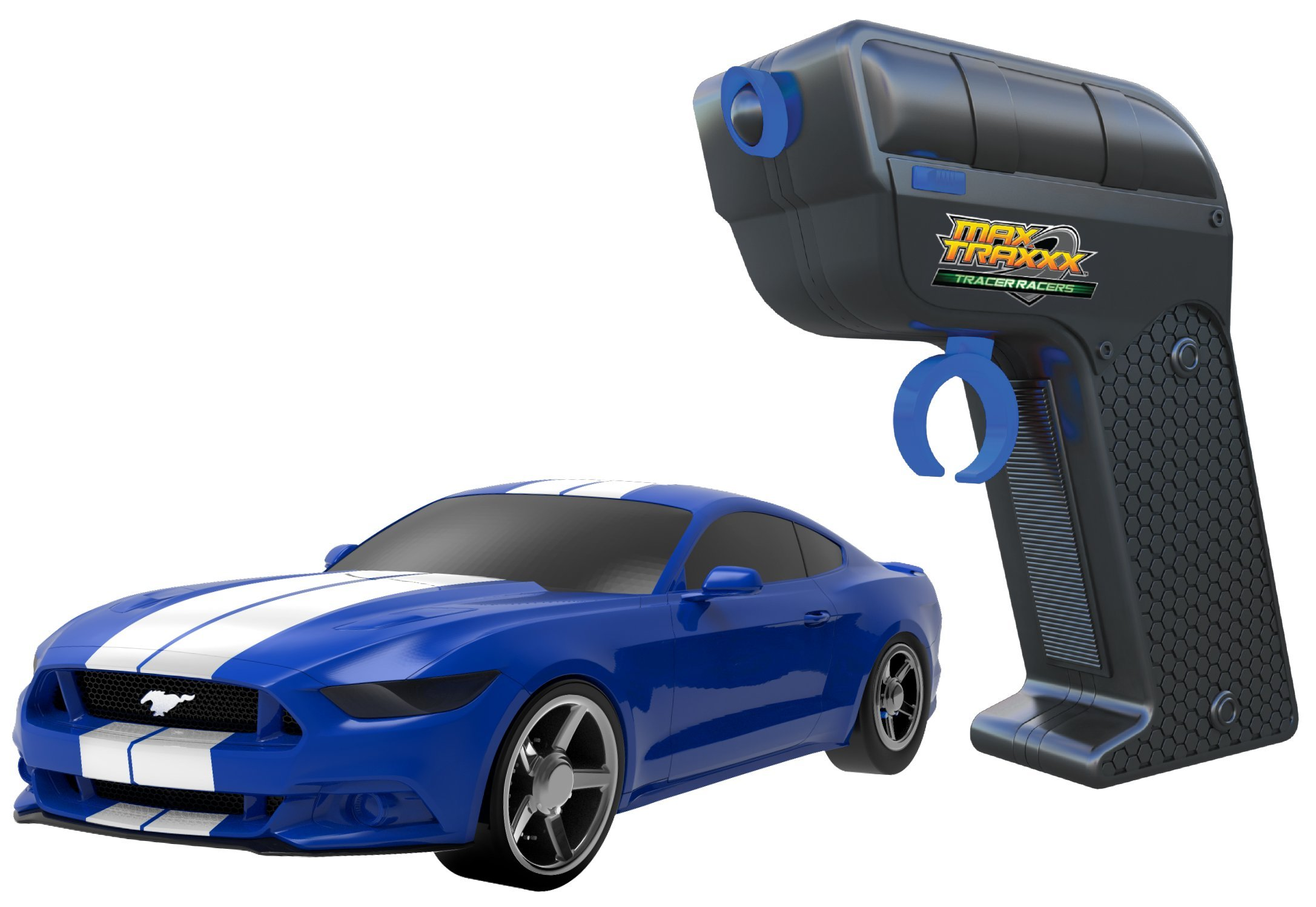 Max Traxxx R/C Tracer Racers High Speed Remote Control Stunt Track Set with Officially Licensed 1:64 Scale Ford Mustang Car by Max Traxxx (Image #5)