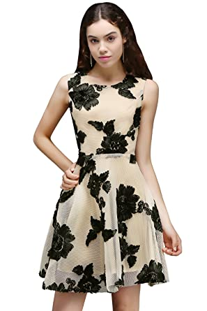 c612b37a84bbd MisShow Sleeveless 2017 Juniors A-Line Floral Lace Homecoming Dress Black  US2