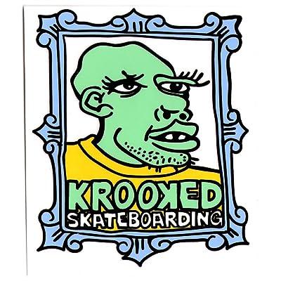 Krooked encadrée visage autocollant - 13,5 cm aqua Planche de skate sk8–Neuf