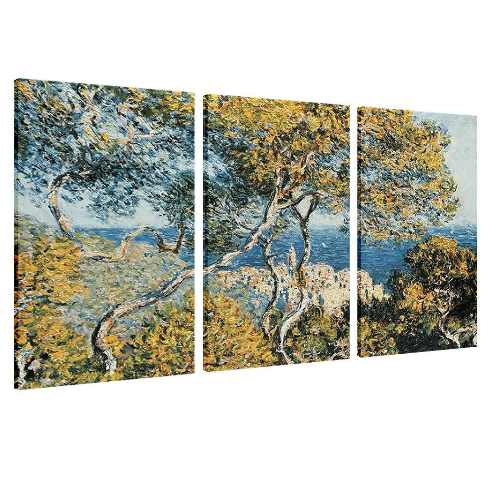 Alonline Art - Bordighera Claude Monet Framed Stretched Canvas (100% Cotton) Gallery Wrapped - Ready to Hang | 30''x20'' - 76x51cm | 3 Panels Combination Framed Wall Art Framed Paintings Giclee