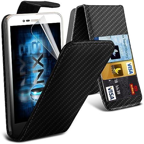 ONX3® (Carbon Fibre)  Vodafone Smart Prime 7 caso cubierta trasera funda Carcasa, Case, Cover Custom Made PU de cuero Flip Case Con ranura para ...