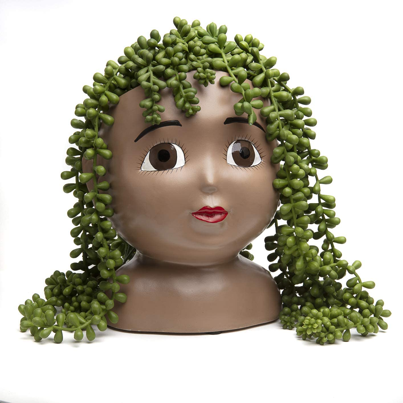 Head Planter Pot – Face Planters for Indoor and Outdoor Plants – Unique Garden Planters – Resin Succulent Face Planter for Succulents – Open Brown Eyes Female Head Planter – Unusual Pots for Plants