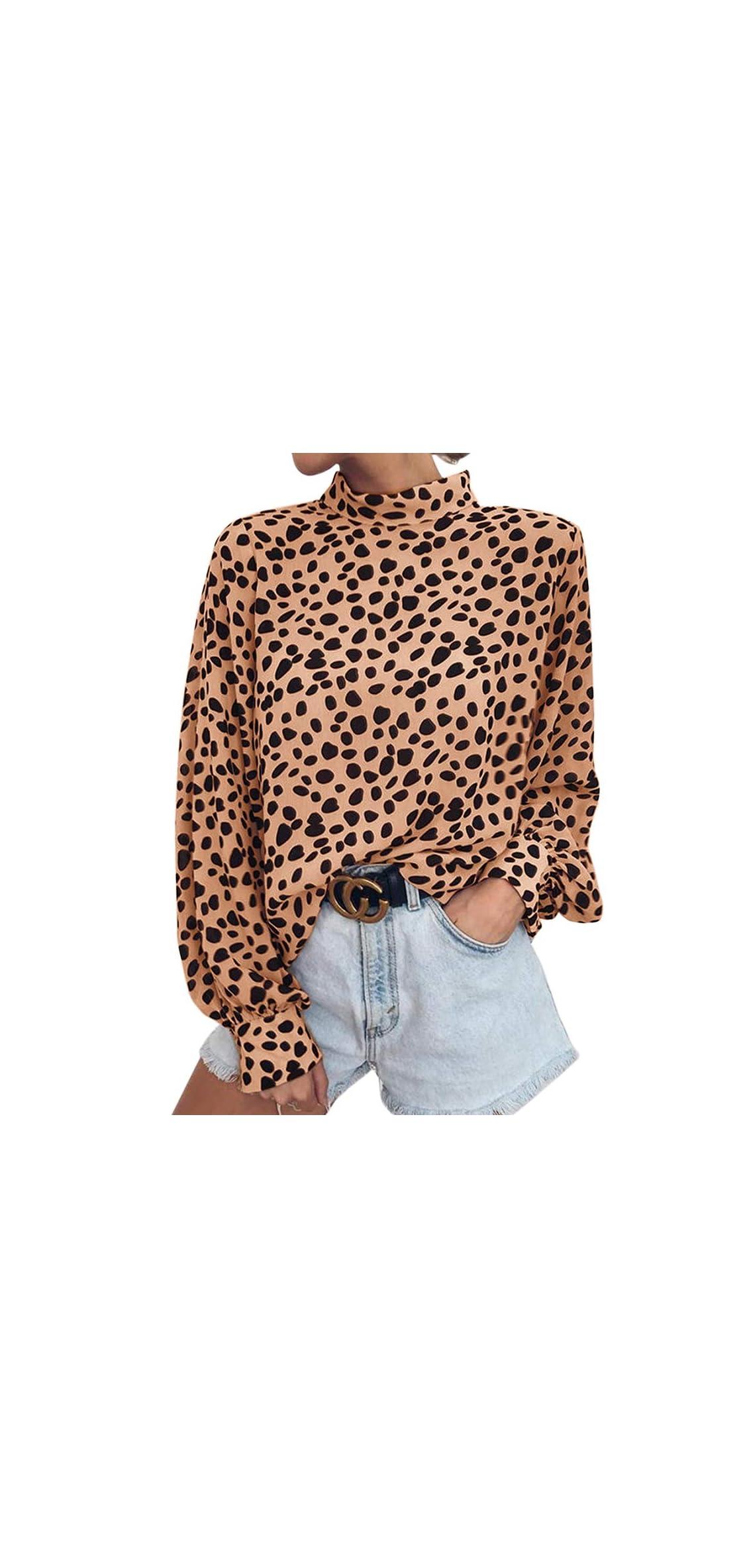 Womens Long Sleeve Turtleneck Blouse Leopard Print Tops