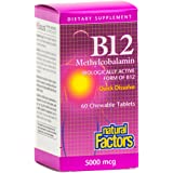Natural Factors - Vitamin B12 Methylcobalamin 5000mcg, Support for Nerve Function, Energy Production & Red Blood Cells, 60 Chewable Tablets
