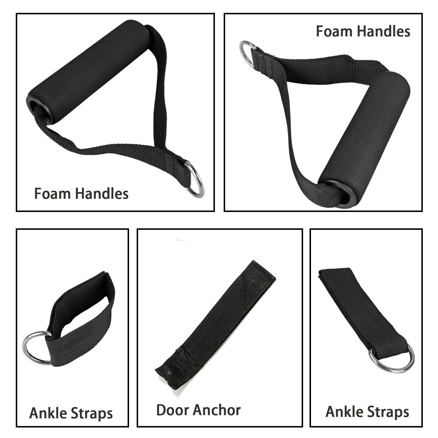 Resistance Bands Kit 5 Pieces of Exercise tube Fitness Stretch Bands with Foam Handles, Door Anchor, Ankle Straps Workout Guide for Building Muscle, Fat Loss, Rehabilitative Exercises