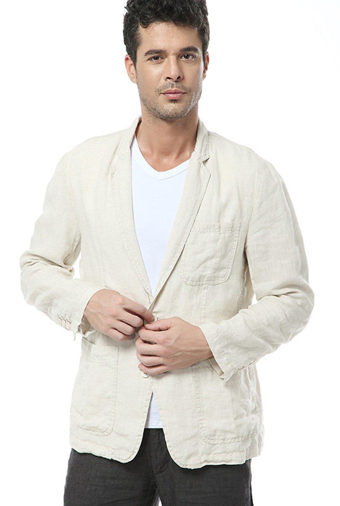 utcoco Men's Casual Lapel Lightweight Two-Button Linen Suit Blazer (Large, Beige) by utcoco