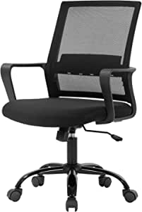 Office Chair Ergonomic Desk Task Chair Mesh Computer Chair Mid-Back Mesh Home Office Swivel Chair Modern Executive Chair with Wheels Armrests Lumbar Support