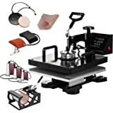 SmarketBuy Heat Press 15x15 Inch Digital Sublimation T-Shirt Heat Press Machine for Hat Mug Plate 8 in 1 Black (8-in-1)