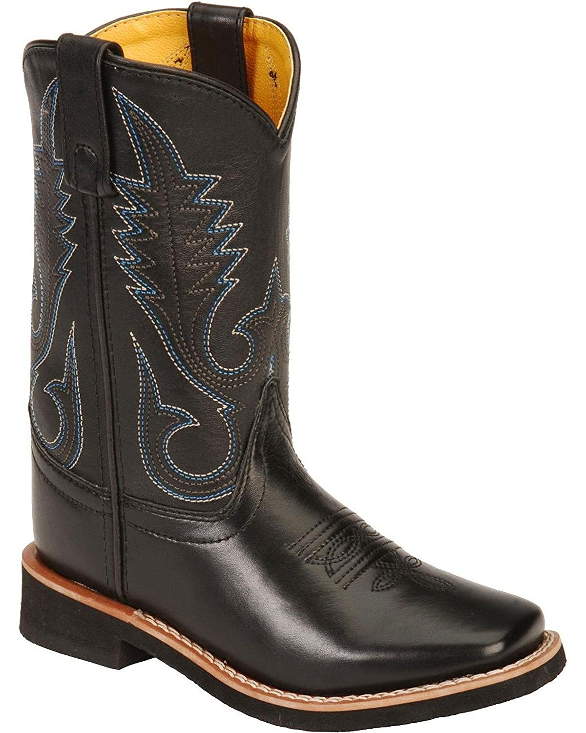 3d5cbaea119 Smoky Mountain Boots Youth Boys Judge Black Leather Square Toe 5.5 D ...