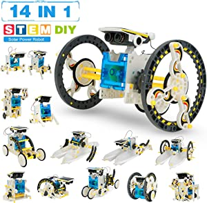 Pickwoo Solar Robot Toys 14-in-1 Upgrade Robot Toys STEM Toys Solar Robot Kit Robot DIY Assemble Robot for Kids and Adults