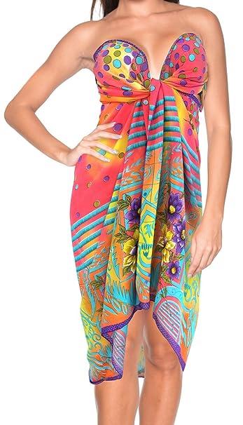 """935445710a LA LEELA Sheer Chiffon Hawaiian Beach Bikini Wrap Sarong Digital  68""""X43"""" Red_896"""