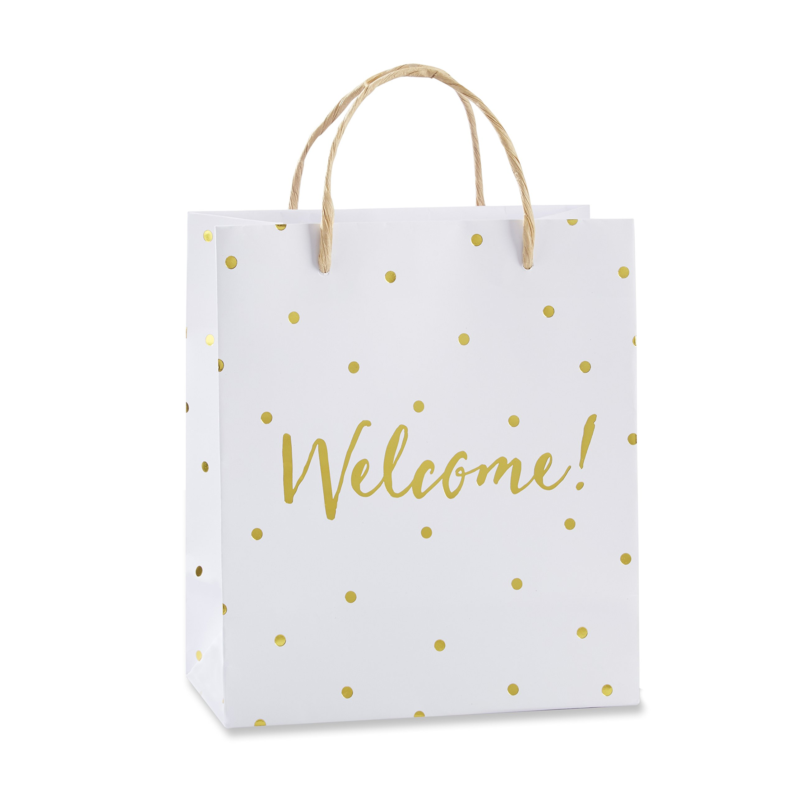 Kate Aspen Party Favor and Gift Bag, White and Gold Foil Polka Dot, Welcome, Set of 12