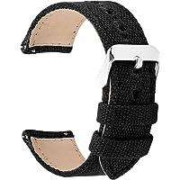 Fullmosa 8 Colori per Cinturino Orologio a Sgancio Rapido, Tela Militare Cinturino per Orologio 24mm,22mm,20mm,18mm,16mm,14mm,Cinturino per Uomo e Donna, 22mm Nero