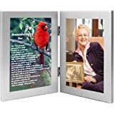 Remembering You Memorial Photo Frame - Sympathy Gift for the Loss of Loved One - Funeral Gift That Will Become a Family Keepsake with Beautiful Poem on Cardinal Print
