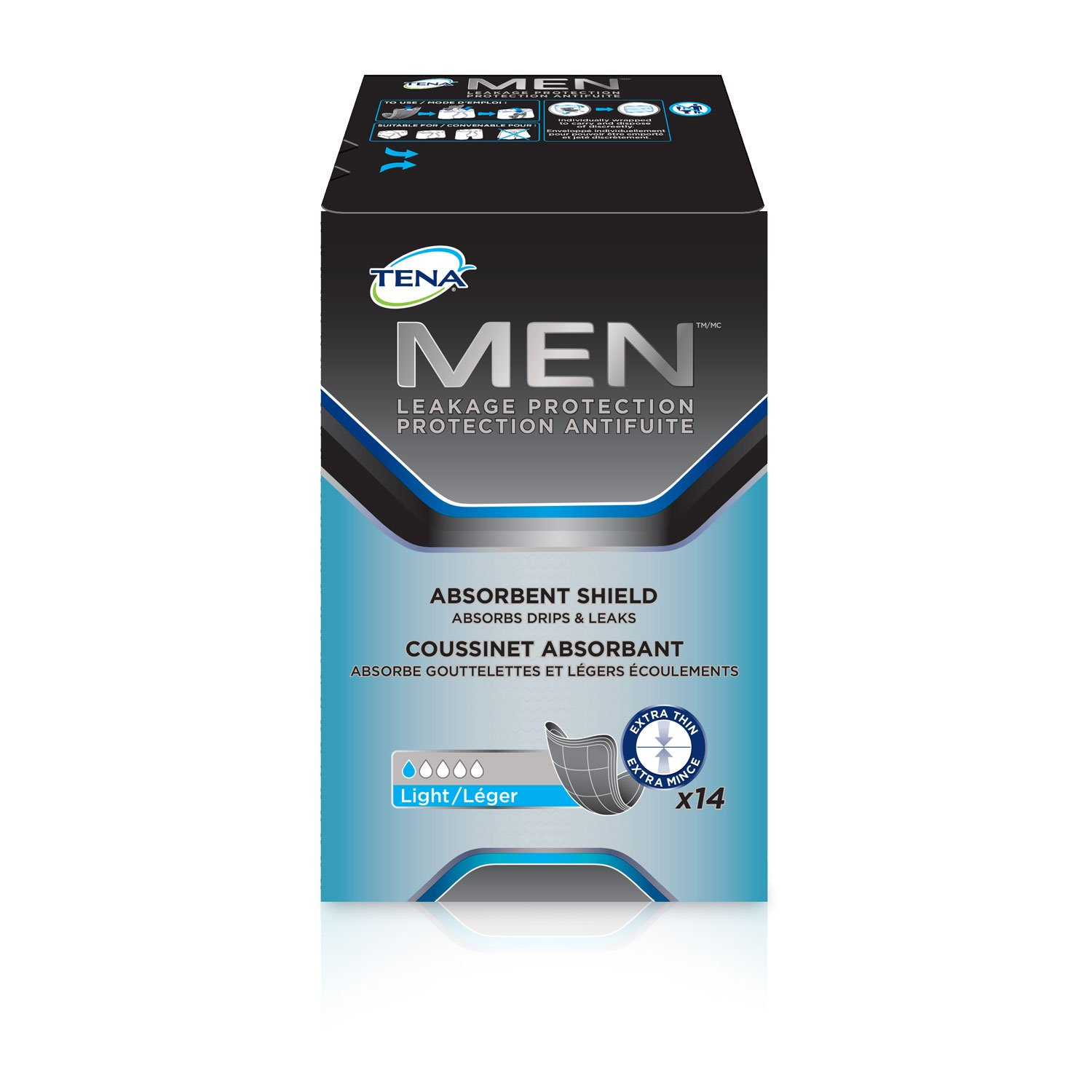 14 Count (1Package) Tena Incontinence Shields for Men, Light Absorbency