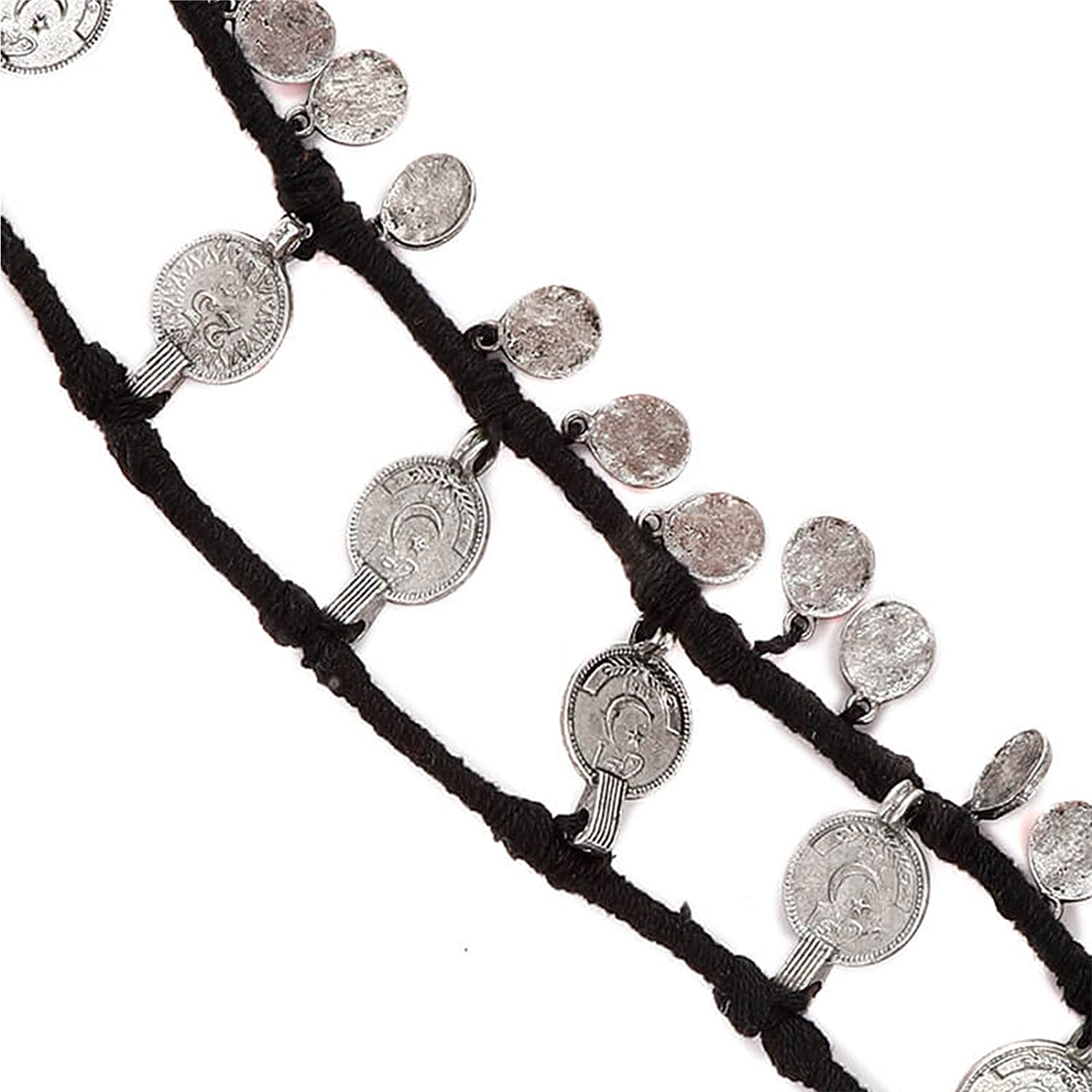 Tjori Anklet with German Silver Trinkets Handcrafted in Black Cotton Threads