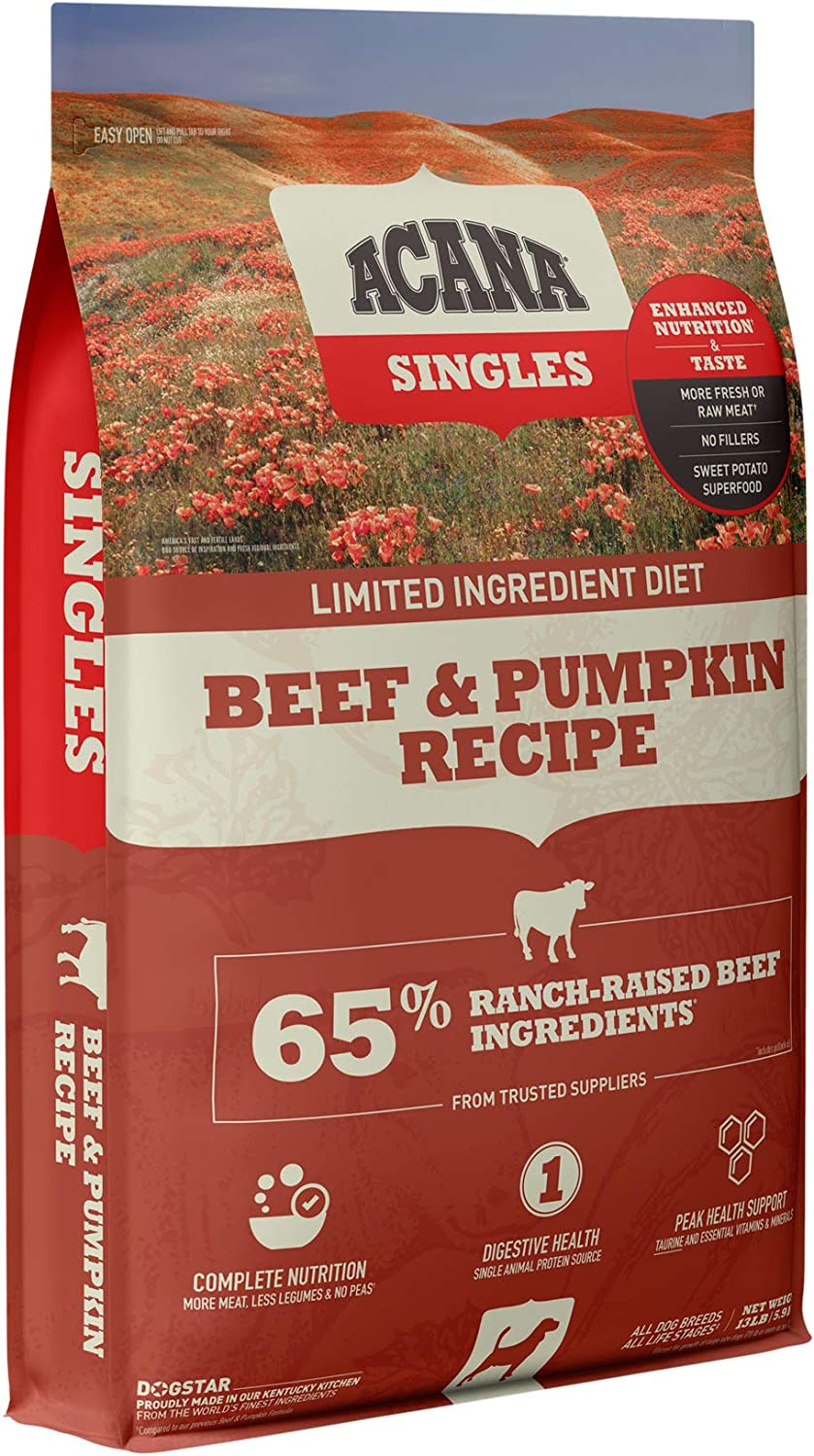 Acana Singles Limited Ingredient Dry Dog Food, Grain Free, High Protein, Beef & Pumpkin, 13lb