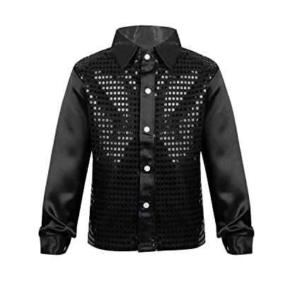 Alvivi Kids Boys Long Sleeve Sequin Shirt Tops Disco Hip-hop Jazz Dance Stage Performance Costumes: Clothing