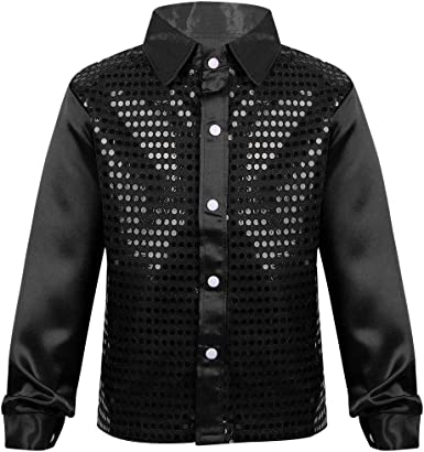 vastwit Boys//Girls Kids Shiny Sequins Hip-hop Jazz Jacket Shirt Vest Waistcoat Blazer Stage Performance Dancing Costume