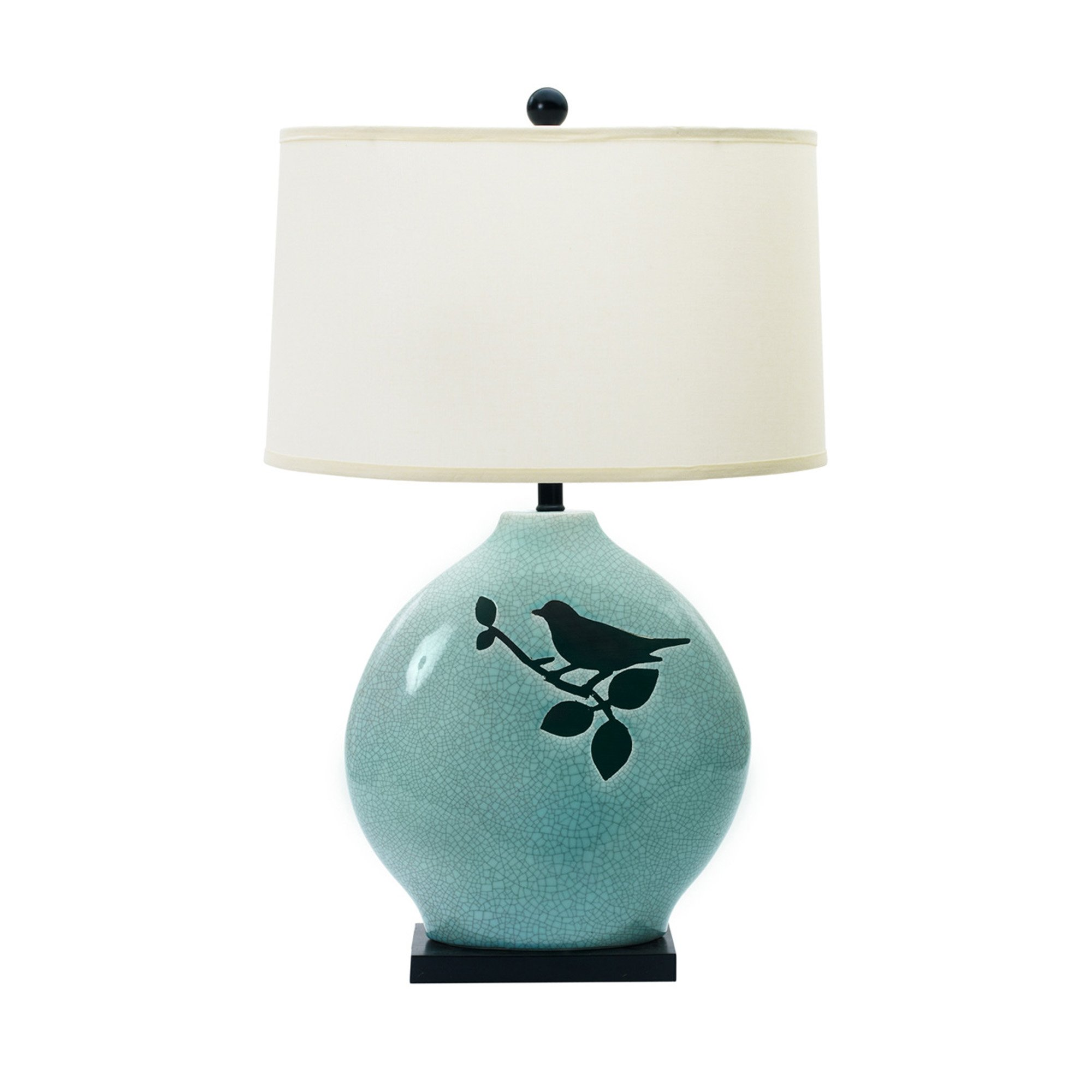 Fangio Lighting 8783 Traditional Ceramic Table Lamp with Bird and Black Base, 30-Inch, Spa Blue Crackle