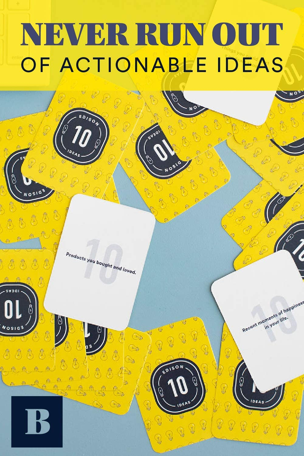 Idea Generation Edison Deck by BestSelf /— Brainstorming Thought Provoking and Writing Prompts Perfect for Unlocking Fresh Disruptive and Creative Ideas /— 150 Cards for Writing and Thinking 150