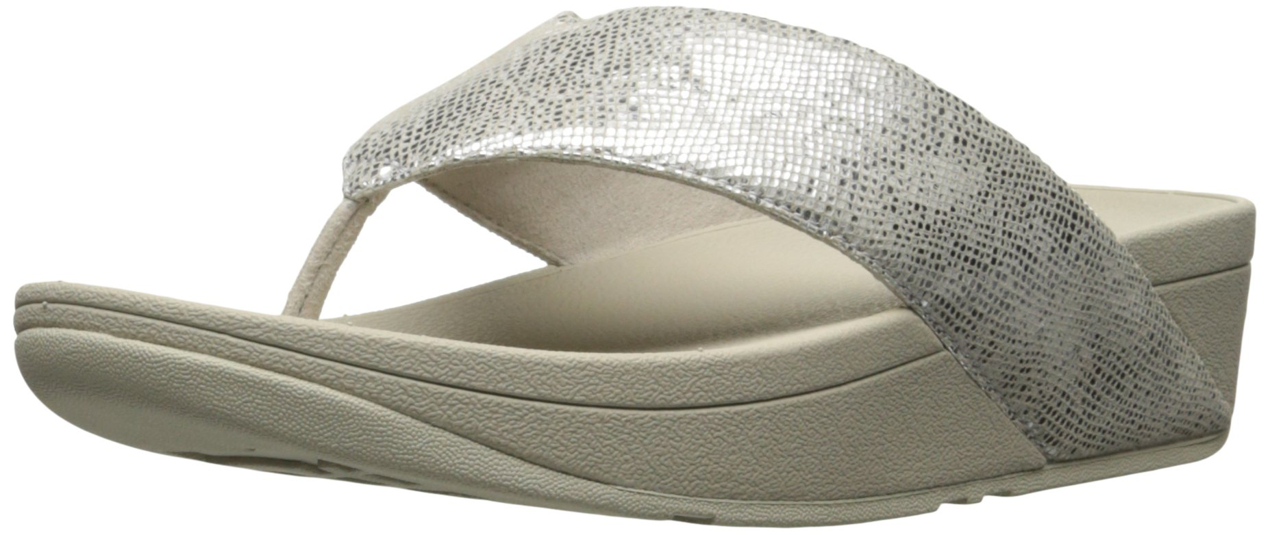 FitFlop Women's Swoop Toe Thong Flip Flop, Silver, 8 M US