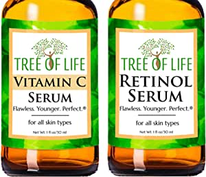 Anti Aging Serum Two-Pack - Vitamin C Serum - Retinol Serum - Anti Aging Serums For Daytime And Nighttime Skincare Regimens - Highly Natural And Organic Anti Wrinkle Serum