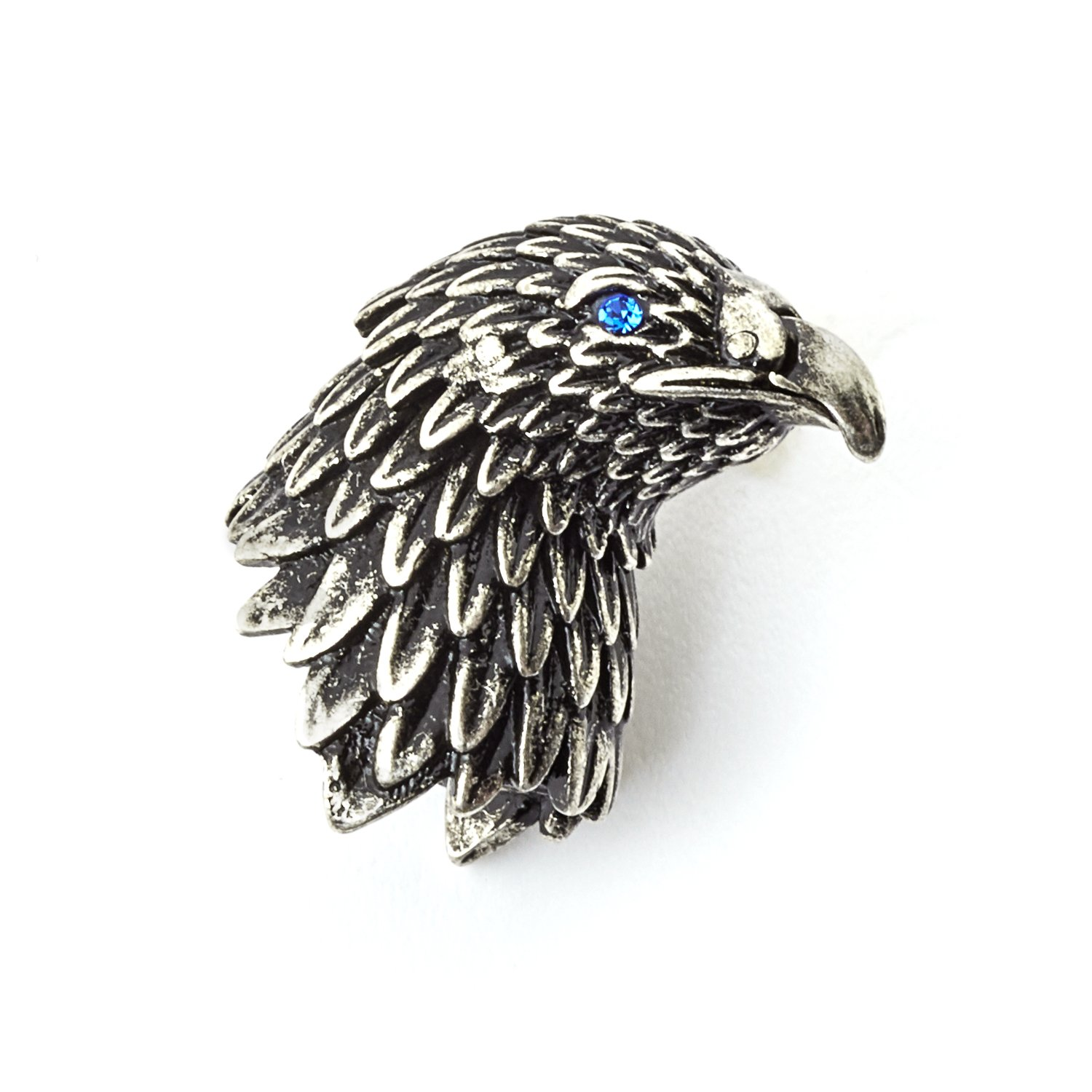 Tateossian Mens Eagle Lapel Pin Oxidized Rhodium Plating with Blue Swarovski Eyes