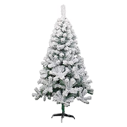 holiday essence 5 foot artificial christmas tree flocked hinged 400 tips canadian pine tree snow - Amazon Artificial Christmas Trees