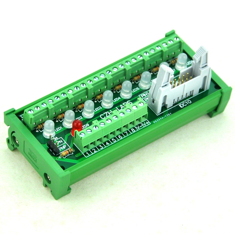Electronics-Salon DIN Rail Mount 8 Channel Sensor Signal Screw Terminal Distribution Module.