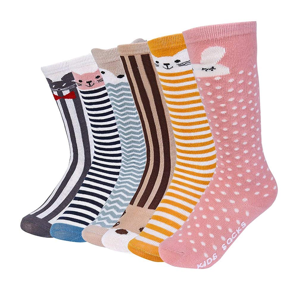 VBIGER 6 Pairs Toddler Boys and Girls Winter Socks Thick Warm Thermal Socks Cotton Socks Anti-Slip Grip Floor Stockings, Aged 0-4