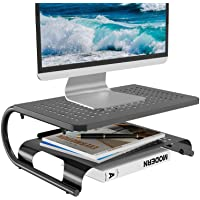 Monitor Riser Desktop Stand with Vented Metal and 2 Tier Desk Organizer Stand for Computer, Laptop, LED, LCD, OLED Flat…