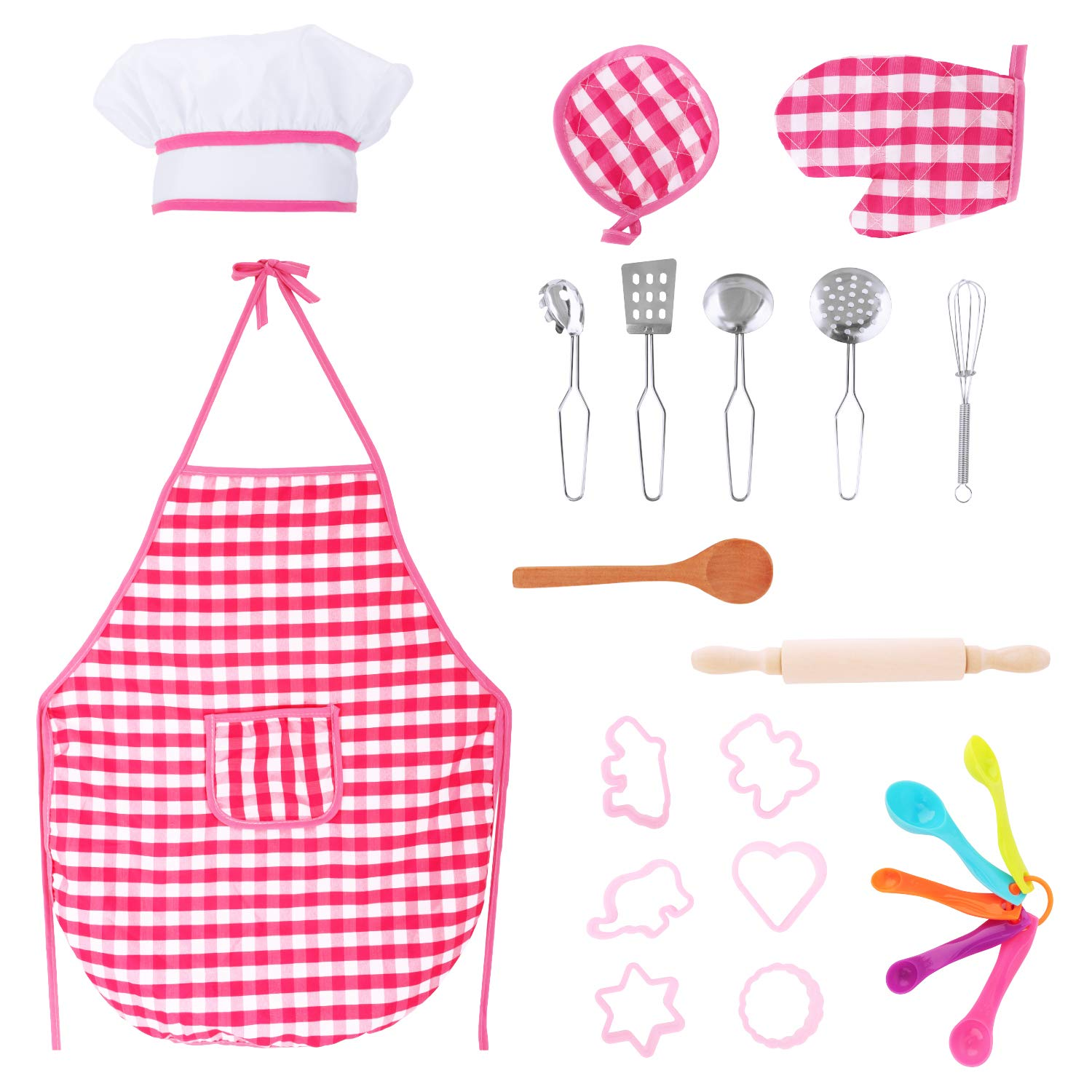 Zooawa Kids Pretend Cooking and Baking Kit, [22PCS] Chef Role Play Costume Toy Set Including Chef Hat, Apron, Gloves, Measuring Spoons, Cake Molds, Suitable for Over 3-Year-Old Girls, Colorful