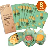 Beeswax Wrap Reusable Food Wrap Assorted 8 PACKS, Eco Friendly Reusable Food Wraps, Sustainable Plastic Free Food Storage-2 Small,4 Medium, 2 Large -Say Goodbye to Plastic