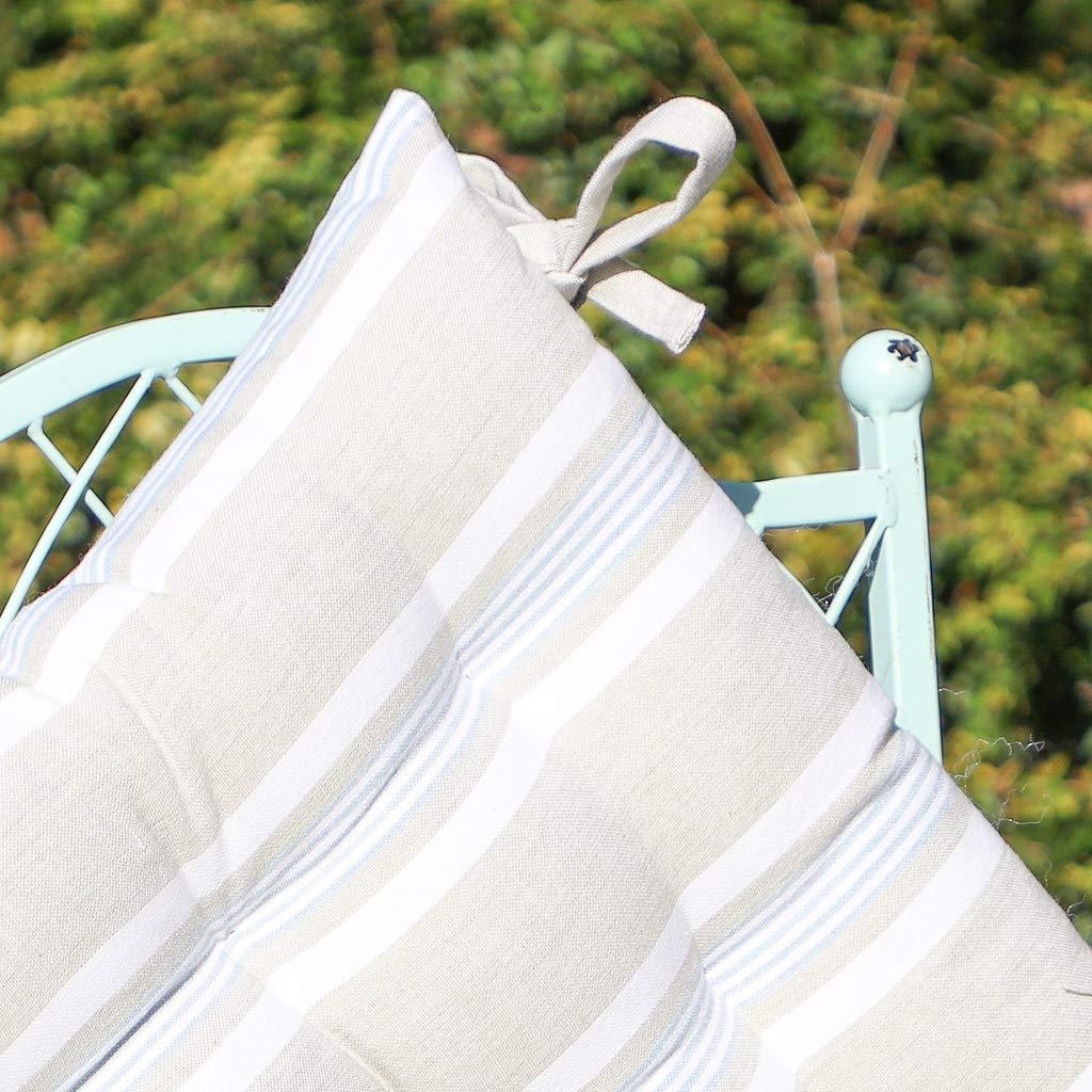 Dibor Set di Cuscini per Sedia in 100/% Cotone Resistente allAcqua con Lacci